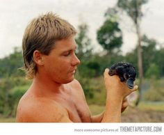 Just a young Steve Irwin and a platypus