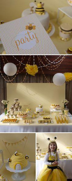 Bee party by Alannah Rose (invites+cake+decor) - via http://wordpress.alannahrose.custom.sitesuite.net/blog/category/alannah-rose-parties/