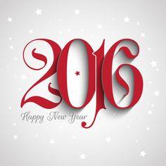 Novo fundo ano de 2016 com números ornamentais Vetor grátis