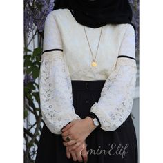 I add another one of the most beautiful to my laced blouses . I& adding another one of the most beautiful blouses in your laced 😍 Our most comfortable and special pieces in your most beautiful days are almost a savior… Modern Hijab Fashion, Islamic Fashion, Abaya Fashion, Muslim Fashion, Skirt Fashion, Fashion Outfits, Hijab Style Dress, Hijab Chic, Casual Hijab Outfit