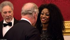 Charles Prince of Wales meets singers Beverley Knight (right) and Tom Jones (left) as he a...