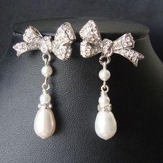 Rhinestone Bow Bridal Earrings, Vintage Inspired Pearl Drop Wedding Earrings, Retro Silver Bow Bridal Jewelry, Lola