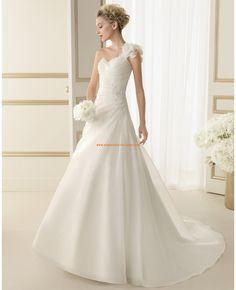 Robe de marie 2014 satin organza fleur application perl