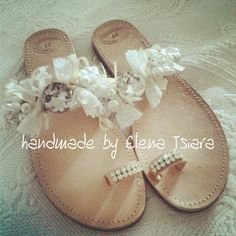 wedding leather sandals with strass