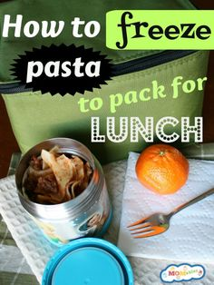 Love this practical leftovers for lunch idea/tutorial on how to freeze pasta to pack for school lunches.
