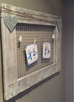 This amazing Reclaimed Wooden Frame has 5 hooks for  keys, and tons of space for cards, pictures and kids' creations.  Message me on my facebook page for more information. www.facebook.com/inspirationsbydanielle