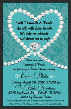bridal shower invitations turquoise bridal shower invitations