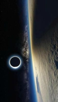 Solar eclipse seen from space