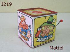 VINTAGE MATTEL MOTHER GOOSE MUSIC JACK IN THE BOX TIN LITHO TOY NURSERY RHYMES #Mattel
