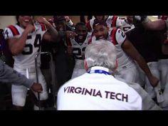 Coach Frank Beamer celebrates the 33-17 win over Cincinnati by dancing in the locker room