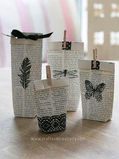Gammal bok blir presentpåsar – Turn old book into gift bags (Craft & Creativity) Old Book Crafts, Book Page Crafts, Diy Old Books, Diy Paper, Paper Crafting, Diys, Papier Diy, Book Pages, Creative Gifts