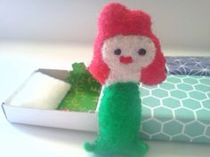 Tiny Mermaid in a Matchbox by owlhaveyouinstitches on Etsy