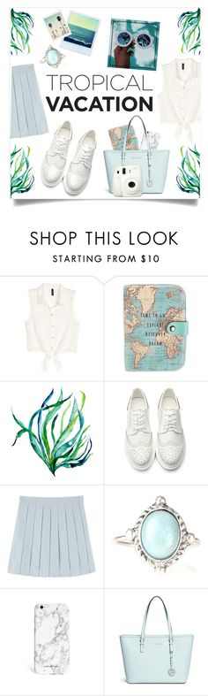 """""""Greece"""" by meleuterio ❤ liked on Polyvore featuring H&M, Polaroid, GALA, Michael Kors and Fuji"""