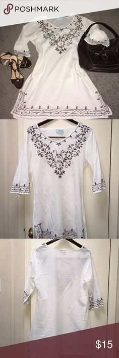Embroidered Cream Tunic.Size M Not Free People! However, I won't tell, lol. It's South Main Brand,which Poshmark didn't have listed.  It is Flattering and ready for summer. 3/4 sleeve and side slots for added comfort. 100% Cotton . Free People Tops Tunics