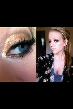 glittery gold eye for prom 2014, makeup for blue eyes, sparkly gold makeup tutorial, prom makeup, eye shadow tutorial, brittsbeauty