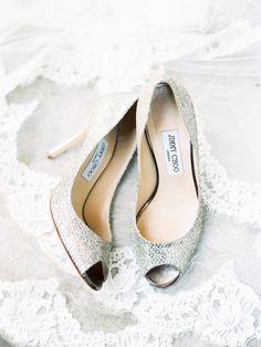 Sparkly silver Jimmy Choo wedding shoes: Photography: Nancy Ray - http://nancyrayphotography.com/