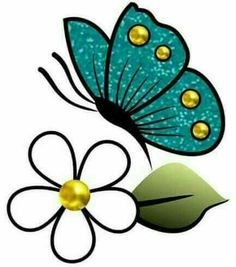 Linda borboleta! Flower Doodles, Stencil Painting, Fabric Painting, Painting On Wood, Sewing Leather, Butterfly Crafts, Butterfly Art, Butterflies, Flower Pots