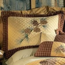 Pinecone bedding for the cabin