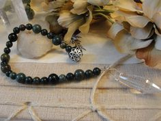 Forest Green Indian Bloodstone and Crystal by PoisonGarden on Etsy, $12.00