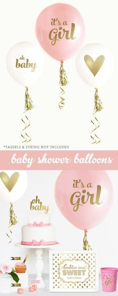 """12/"""" Pink Colour IT/'S A GIRL PRINTED Party Balloons Mix Top Quality Brand New"""