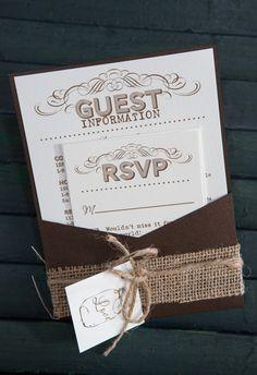 Rustic Wedding Invitation (Mason Jar) for a wedding at Boone Hall Plantation - by www.envelopme.com
