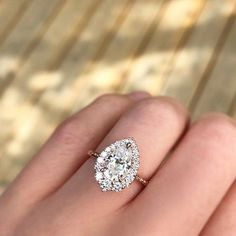Diamond Engagement ring, Wedding Rings,pear halo featuring a 1.5ct moissanite center, with a halo of Canadian diamonds in graduated sizes. #weddingring