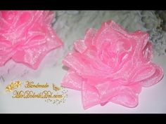 Пышная РОЗА канзаши ИЗ ОРГАНЗЫ Цветы из органзы Roses from Organza DIY - YouTube