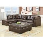 $782.67  Coaster Furniture - Darie Leather Contemporary Sectional Sofa in Brown - 500686