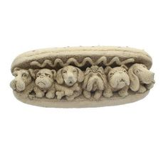 This Hot Dogs ornament is made of value cast stone with a considerable measure of scrupulousness and completed with a strong metal snare shaped in the stone on Dog Ornaments, Cast Stone, Hot Dogs, Decorative Bowls, It Cast, Shapes, Metal, Gifts, Strong