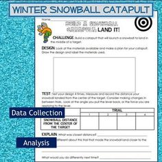 Winter Snowball Catapult Engineering Science Experiment Challenge STEM Primary Science, Stem Science, Elementary Science, Teaching Science, Student Learning, Teaching Resources, Science Inquiry, Weather Science, Physical Science