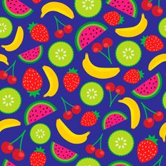 90's cartoon fruit pattern