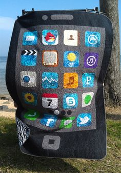 """iQuilt"""" was made by Heidi Hendrix  How stinkin' cute is this iQuilt???? Perfect for my techie family members! Great idea!"""