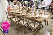 1ST PLACE: Rustic pink & rose gold farm table reception display by Rock Hall of Fame + items attributed by R.S.V.P. and Company at the 2015 I-X Center Cleveland bridal show | As seen on TodaysBride.com