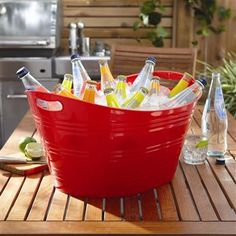 Creativeware Ribbed Plastic Party Tub 32 L / 8.5 Gallon Red | Kitchen Stuff Plus