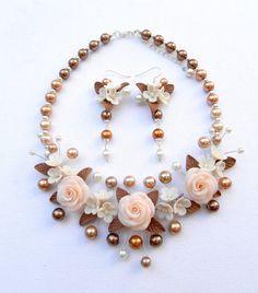 Flor joyería declaración collar joyería de la boda collar