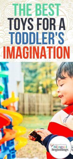The Best Toys for A Toddler's Imagination #toddlergiftguide #preschoolgiftguide #openendedtoys #thebesttoddlertoys #thebestpreschoolertoys #educationaltoddlertoys #educationalpreschooltoys #montessoritoys #loospartsplay #playbasededucation #bilingualkids #toysforbilingualkids