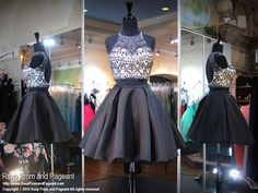Black White Beaded High Neckline Two-Piece Short Homecoming Dress