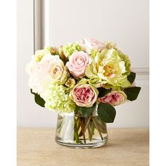 Ndi Pastel Passion Faux Floral ($365) ❤ liked on Polyvore featuring home, home decor, floral decor, multi colors, faux flowers, flower arrangement, artificial flower stems, flower stem and faux peony arrangement