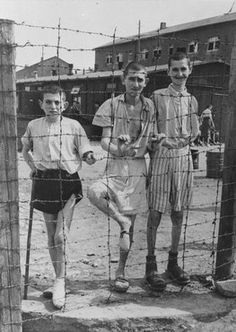 Holocaust: Photograph of Young Survivors Behind a Barbed Wire Fence in Buchenwald Concentration Camp