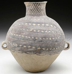 "STONEWARE STORAGE JAR. Neolithic Period (2nd century B.C.), China. Yang Shao culture. Various anthropomorphic and geometric designs in red and black/brown color. SIZE: 10"" h x 10"" dia."