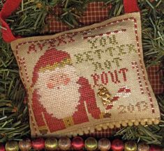 You Better Not Pout Christmas Ornament by HomespunElegance on Etsy, $8.00