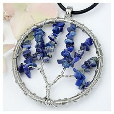 handmade Jewelry handmade Necklace Tree of Life Pendant Stone Pendant... ($22) ❤ liked on Polyvore featuring jewelry, pendants, hand made jewellery, handmade jewellery, blue stone jewelry, enhancer pendant and charm pendant