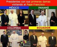 Presidentes con sus primeras damas visitando al Pope Francisco. April 29, 2015.