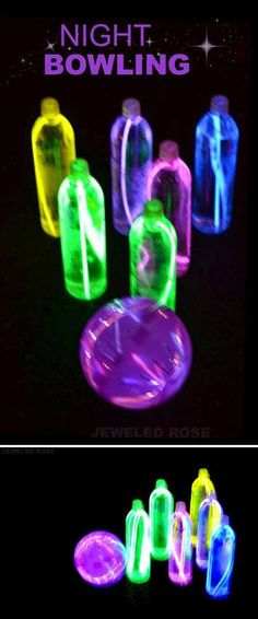 Night bowling- a super fun activity for Summer. The glowing ball and pins are easy to make with glow sticks and a hamster ball. Night bowling- a super fun activity for Summer. The glowing ball and pins are easy to make with glow sticks and a hamster ball. Family Fun Night, Festival Camping, Glow Sticks, Glow Stick Games, Glow Stick Party, Glow Stick Bowling, Bowling Party, Glow In Dark Party, Bowling Pins