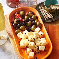 Marinated Cheese Cubes! Pantry ingredients turn ordinary Monterey Jack into a deli-style party snack that tastes even better when you make it ahead. You can prep it three days in advance.