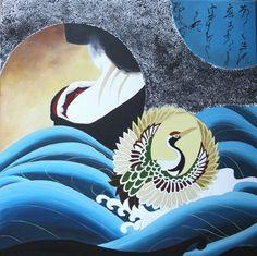 Orizuru kimono  acrylic painting  50x50 cm  540 €