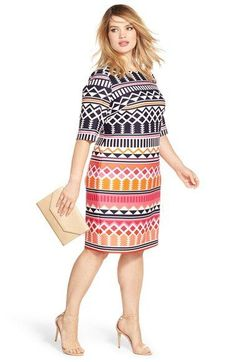 Eliza J Geo Print Elbow Length Sheath Dress (Plus Size) Look Plus Size, Dress Plus Size, Plus Size Dresses, Plus Size Outfits, Plus Size Womens Clothing, Size Clothing, Stylish Dresses, Casual Dresses, Size 16 Women