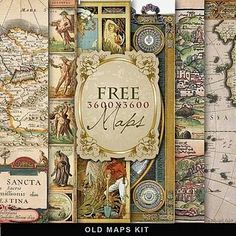 Free Old Maps Digi Kit ~ great for heritage page backgrounds, tags and embellishments.