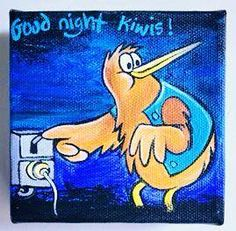Goodnight Kiwi turn off the light-Monique Rush for sale on Trade Me, New Zealand's auction and classifieds website New Zealand Houses, New Zealand Art, Retro Cafe, Nz Art, My Family History, Kiwiana, All Things New, Light Painting, Rock Painting