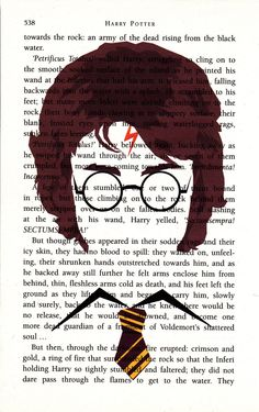 Harry Potter Printed Illustration on Page from Novel. $13.80, via Etsy.